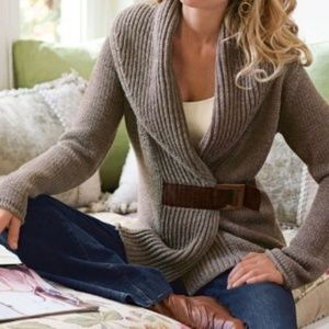 Soft Surroundings Brown Wool Belted Tunic Sweater